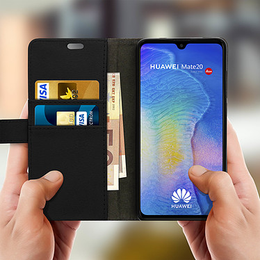 Acheter Avizar Etui folio Noir Rangement Carte pour Huawei Mate 20