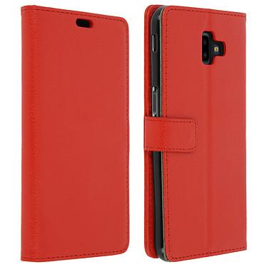 Avizar Etui folio Rouge Portefeuille pour Samsung Galaxy J6 Plus Etui folio Rouge portefeuille Samsung Galaxy J6 Plus