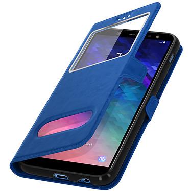 Avizar Etui folio Bleu Éco-cuir pour Samsung Galaxy A6 Plus pas cher