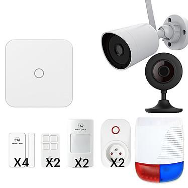 NEW DEAL VISION PREMIUM LAN/WIFI/GSM Pack alarme Lan/Wifi/GSM avec 11 accessoires et 2 caméras de sécurité
