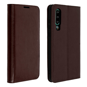 Avizar Etui folio Marron Cuir véritable pour Huawei P30 Etui folio Marron cuir véritable Huawei P30