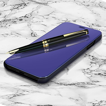 Avizar Etui folio Bleu Nuit Design Miroir pour Apple iPhone XS Max pas cher