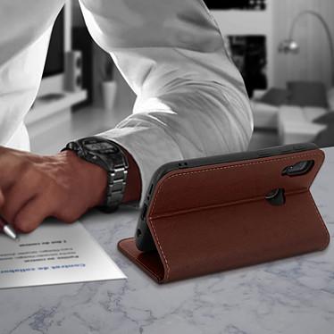 Avis Avizar Etui folio Marron Cuir véritable pour Samsung Galaxy A20e