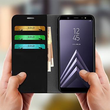 Acheter Avizar Etui folio Noir Cuir véritable pour Samsung Galaxy A6 Plus