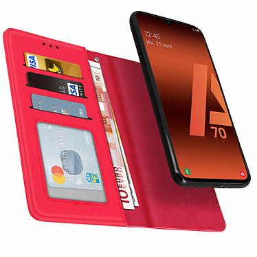 Avizar Etui folio Rouge Portefeuille pour Samsung Galaxy A70 pas cher
