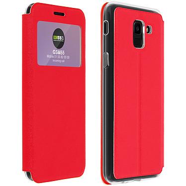 Avizar Etui folio Rouge à fenêtre pour Samsung Galaxy J6 Etui folio Rouge à fenêtre Samsung Galaxy J6