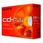 Sony CD-RW 700 Mo certifié 4x (pack de 5, boitier standard)