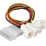 Adaptateur d'alimentation Molex vers 4 connecteurs 3 broches pour ventilateur