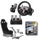 Playseats EVO - Siège de simulation de conduite (noir) + Logitech G25 Racing Wheel  + Support de levier de vitesse + jeu PS3 Need for Speed SHIFT