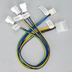 Adaptateur d'alimentation Molex vers 1 connecteur 4 broches PWM + 2 connecteurs 3 broches pour ventilateur
