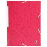 Chemise à élastiques 3 rabats 375g format 24 x 32 cm en carte 5/10eme Rouge