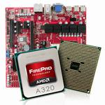 Plateforme professionnelle Micro ATX avec APU AMD FirePro A320 - SATA 6Gb/s - DisplayPort/DVI/VGA - USB 3.0 - 1x PCI-Express 2.0 16x