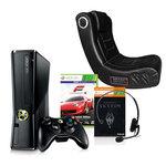 Console Microsoft Xbox 360 + Disque dur intégré 250 Go + Wireless Controller + 1 mois d'abonnement Xbox LIVE Gold + deux jeux + fauteuil gaming