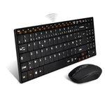 Ensemble clavier multimédia compact extra-plat sans fil (AZERTY Français) pour ordinateur de salon (HTPC) + souris optique sans fil (compatible Windows et Raspberry Pi)
