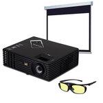 Vidéoprojecteur HD DLP 1920 x 1080 3D Ready 3000 Lumens avec lunettes 3D actives rechargeables + Ecran manuel - Format 16:9 - 240 x 135 cm