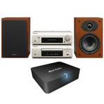 Micro-chaîne CD MP3 USB iPod + Adaptateur Bluetooth pour conversion d'ampli Hi-Fi ou Home-Cinéma en système audio sans fil