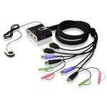 Commutateur KVM HDMI USB à 2 ports avec transmission audio