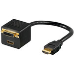 Câble HDMI mâle / HDMI femelle + DVI-D Dual Link femelle