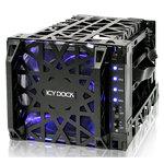 """Boîtier HDD 4 en 3 avec ventilateur à LED intégré pour disques durs 3.5"""" Serial ATA"""