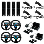 Pack familial complet avec 4 ii Motion Controller, 4 ii Chuck, 4 Steering Wheel et 2 Charge Station (compatible Wii et Wii U)