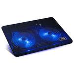 """Refroidisseur pour ordinateur portable 15"""" avec port USB (coloris noir, LEDs bleues)"""
