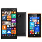"Smartphone 4G-LTE avec écran tactile 5"" ClearBlack OLED Full HD sous Windows Phone 8.1 (Lumia Cyan) + Smartphone 3G+ Dual SIM avec écran tactile 4"" sous Windows Phone 8.1"