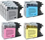 Pack de 10 cartouches d'encre (4 noires, 2 cyan, 2 magenta, 2 jaune) compatibles Brother LC 1280 XL / 1240 / 1220 (1 200 pages à 5%)
