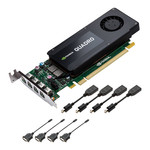 4 Go Quad Mini DisplayPort - PCI Express (NVIDIA Quadro K1200) + 4 adaptateurs vers DVI et DisplayPort