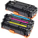 Pack de 5 toners compatibles HP CC53XA et Canon 718 (1 x cyan, 1 x magenta, 1 x jaune et 2 x noir)
