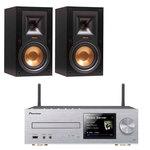 Micro-chaîne CD MP3 USB iPod/iPhone/iPad avec Wi-Fi DLNA et Airplay + Enceinte bibliothèque (par paire)