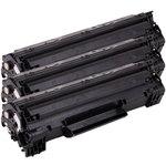 Pack de 3 toners noirs compatibles HP CF283A et Canon 737