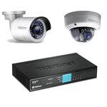 Pack de 2 caméras IP d'extérieures HD PoE Jour/Nuit + Switch 8 ports ethernet dont 4 ports PoE