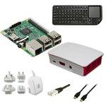 Carte Raspberry Pi 3 Model B + boîtier officiel + carte mémoire avec système d'exploitation pré-chargé + clavier compact sans fil + adaptateur secteur + câble Ethernet + câble HDMI