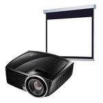 Vidéoprojecteur DLP Full HD 3D Ready 2000 Lumens HDMI (garantie constructeur 3 ans/lampe 1 an) + Ecran manuel - Format 16:9 - 220 x 124 cm