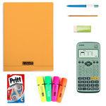 Bundle complet pour les examens (calculatrice, surligneurs, correcteur, crayon, stylo, gomme, cahier)