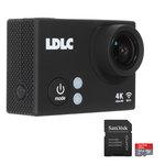 Caméra sportive 4K à mémoire flash avec Wi-Fi intégré + Boîtier étanche + Kit d'accessoires + Cartes MicroSDXC UHS-I classe 10 avec adaptateur SD