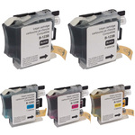 Pack de 5 cartouches d'encre compatibles Brother LC121 / LC123 / LC123 / LC127 (2x noir, 1x cyan, 1x magenta, 1x jaune)