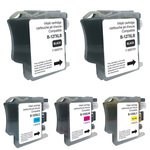 Pack de 5 cartouches d'encre compatibles Brother LC127XL/LC125XL ( 2 x noir, 1 x cyan, 1 x magenta, 1 x jaune)