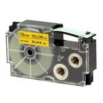 Ruban 12 mm x 8m noir sur jaune pour étiqueteuse KL-60, KL-120, KL-130, KL-820, KL-7400, KL-G2, KL-HD1