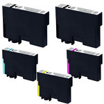 Pack de 5 cartouches d'encre compatibles Epson T129 (2 x noir et 1 x cyan, 1 x magenta et 1 x jaune)