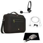 Sacoche pour ordinateur portable (jusqu'à 16'') + casque-micro stéréo, souris de voyage à câble USB rétractable, tapis de souris et antivol à clé OFFERTS !!!