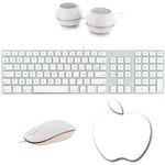 Ensemble clavier chiclet ultra fin (AZERTY Français) + souris optique + tapis de souris + kit d'enceintes 2.0 pour Mac et PC