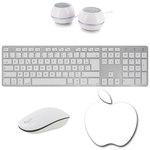 Ensemble clavier chiclet sans fil ultra fin (AZERTY Français) + souris optique sans fil + tapis de souris + kit d'enceintes 2.0 pour Mac et PC