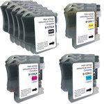 Pack de 11 cartouches d'encre (5 noires, 2 cyan, 2 magenta, 2 jaune) compatible Brother LC125XL/LC127XL