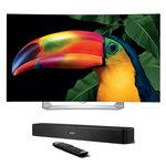 """Téléviseur incurvé OLED 3D Full HD 55"""" (140 cm) 16/9 - 1920 x 1080 pixels - TNT, Câble et Satellite HD - HDTV 1080p - Wi-Fi - Bluetooth - DLNA + Système audio compact TV Solo 5 Bluetooth avec télécommande universelle"""
