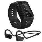 Montre de fitness étanche avec GPS, cardio-fréquencemètre et mémoire interne 3 Go + Casque Bluetooth