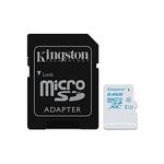 MicroSD 64 Go Action Camera UHS-I U3 avec adaptateur SD (garantie à vie par Kingston)