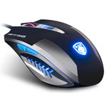 Souris filaire pour gamer - Droitier - Capteur optique 2400 dpi - 6 boutons - Rétro-éclairage bleu - Tapis de souris inclus