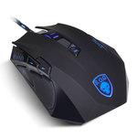 Souris filaire pour gamer - Droitier - Capteur optique 4000 dpi - 9 boutons programmables - Rétro-éclairage bleu - Poids ajustable